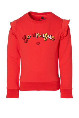 regular fit sweater Djoah met tekst en ruches rood