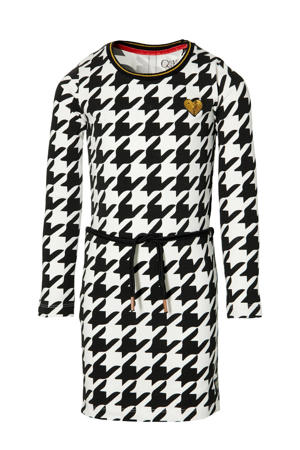 jurk Daantje met pied-de-poule en borduursels zwart/wit