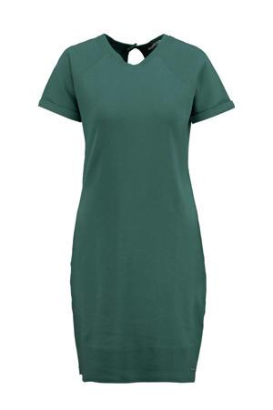 jersey jurk Deborah met open detail groen