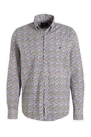regular fit overhemd met all over print donkerblauw/geel