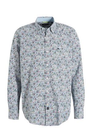 regular fit overhemd met all over print wit/groen/rood/blauw