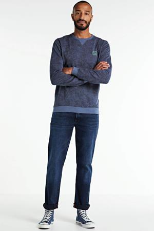 sweater met all over print blauw
