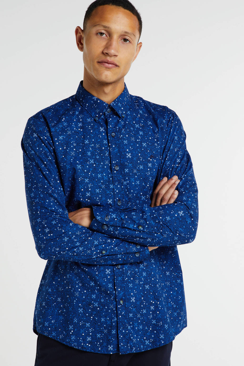 LERROS slim fit overhemd met all over print kobaltblauw, Kobaltblauw