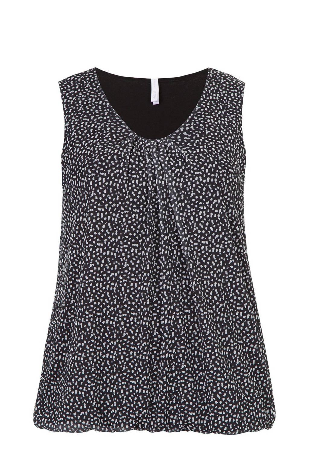 Miss Etam Plus top met all over print en plooien zwart/wit, Zwart/wit