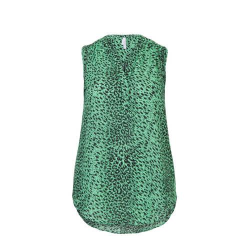 Miss Etam Plus top met all over print groen/zwart