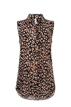 blouse met all over print zwart/beige/bruin