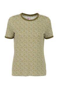 Miss Etam Regulier T-shirt met contrastbies groen/wit, Groen/wit