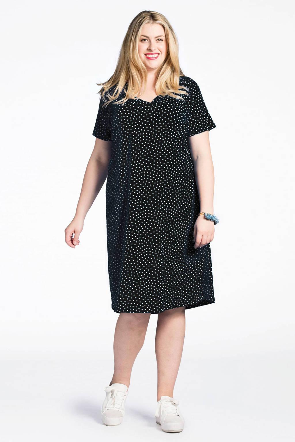 Yoek A-lijn jurk met stippen zwart/wit, Zwart/wit