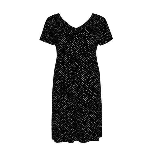 Yoek A lijn jurk met stippen zwart wit