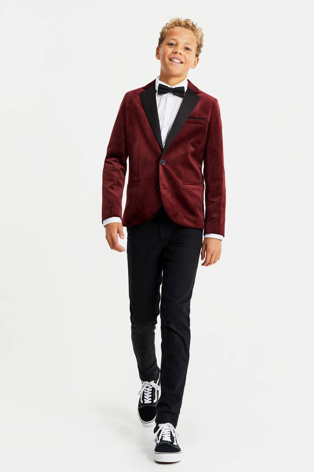 WE Fashion slim fit gevoerde velours colbert donkerrood/zwart, Donkerrood/zwart
