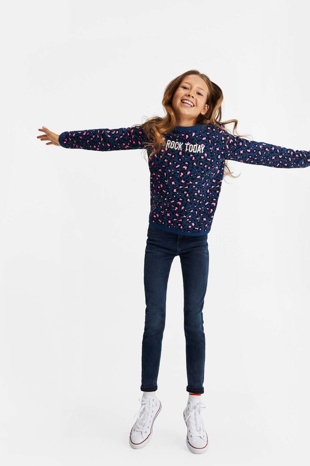 WE Fashion sweater met panterprint donkerblauw/roze/zwart