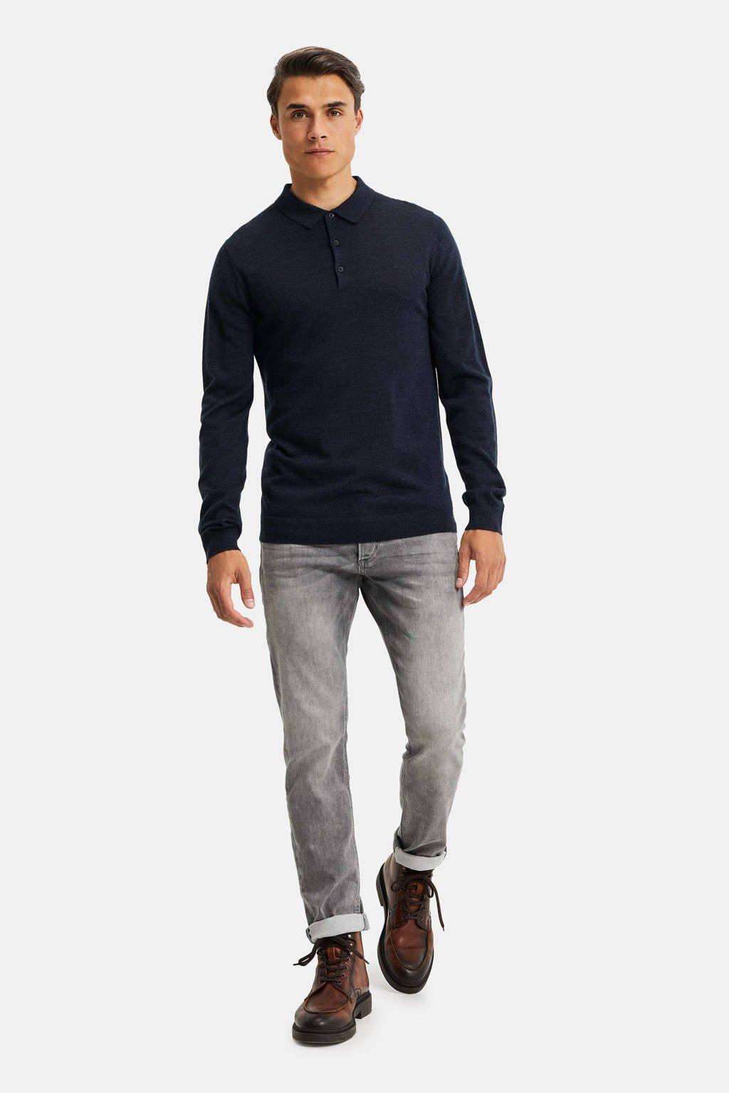 WE Fashion fijngebreide wollen slim fit polo donkerblauw, Donkerblauw