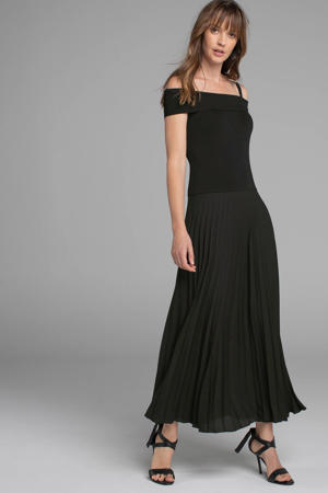off shoulder maxi jurk zwart