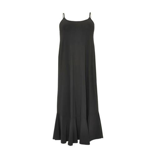 Yoek maxi jurk met volant zwart