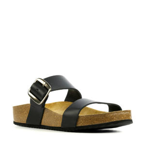 78110  leren slippers zwart
