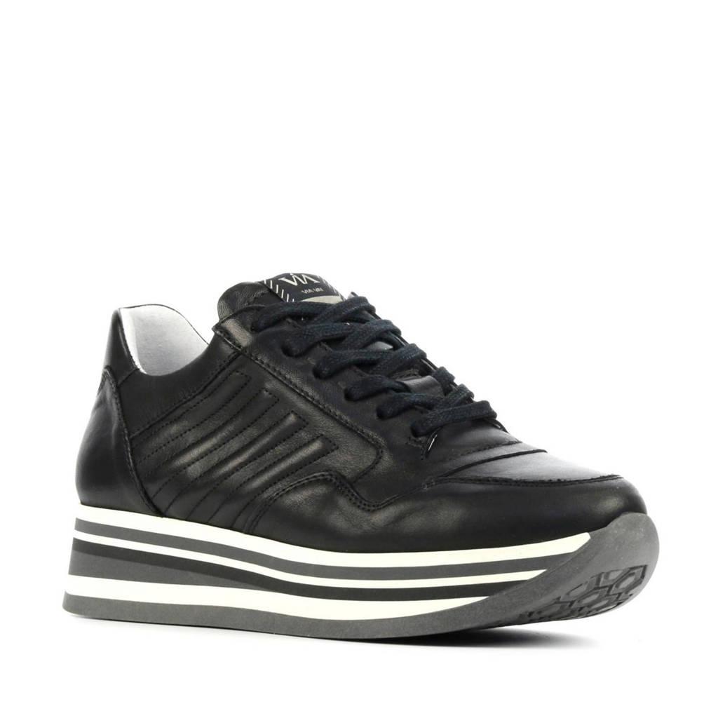 Via Vai 5209036  leren plateau sneakers zwart, Zwart