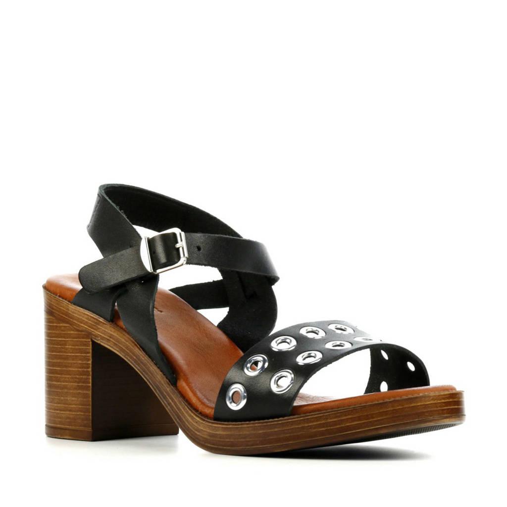 Red Rag 79252  leren sandalettes zwart, Zwart