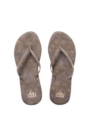 Bliss Summer  teenslippers slangenprint taupe