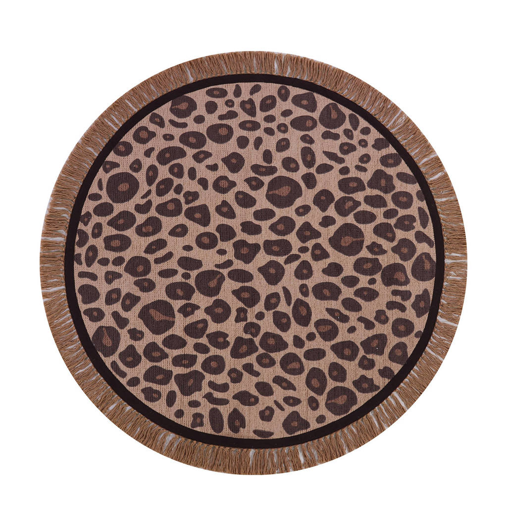 Tapis Petit kindervloerkleed Leopard  (Ø120 cm), Rose/Bruin