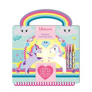 Unicorn designer activeiten- en tekenboek met gelpennen, sjablonen, stickers