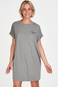 Hunkemöller nachthemd met tekst grijs, Grijs