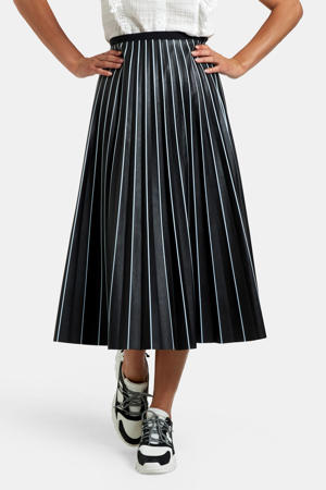 imitatieleren rok met krijtstreep zwart/wit