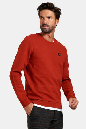 sweater Aldwin met logo donkerrood