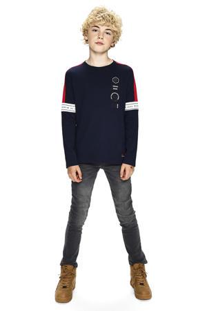 longsleeve Nick met printopdruk donkerblauw/rood/wit