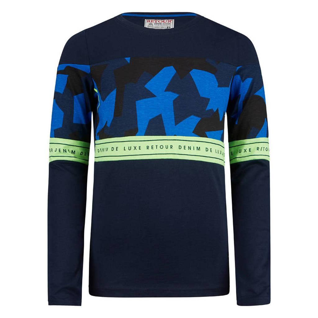 Retour Denim longsleeve Jorn met camouflageprint donkerblauw/blauw/geel, Donkerblauw/blauw/geel