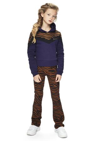 flared broek Ada met zebraprint caramel/zwart