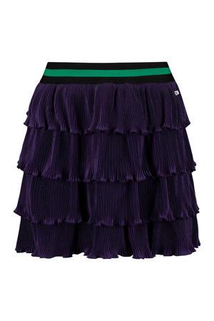 fluwelen rok Babiche met volant paarsblauw/groen