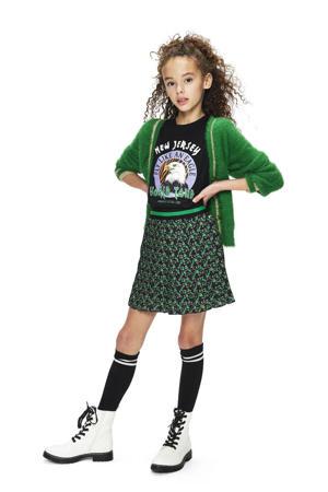 rok Elly met all over print zwart/groen
