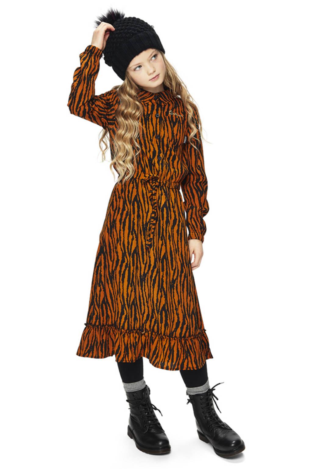 Retour Denim jurk Clara met zebraprint en volant caramel, Caramel