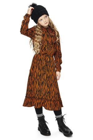 jurk Clara met zebraprint en volant caramel