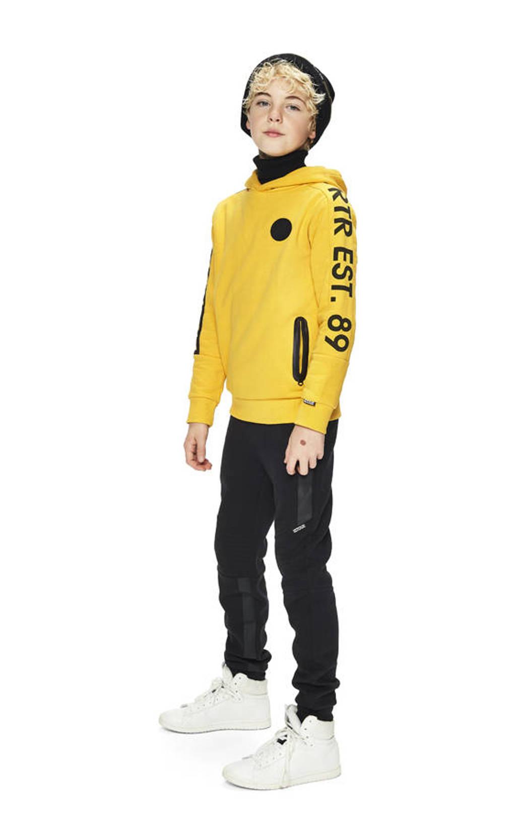 Retour Denim hoodie Joey met tekst geel/zwart, Geel/zwart
