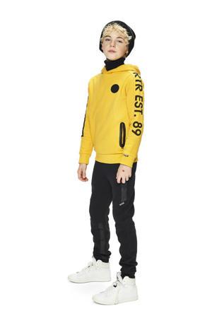 hoodie Joey met tekst geel/zwart