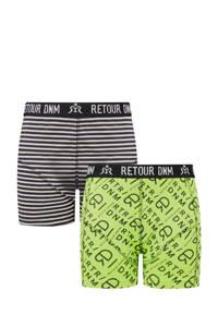 Retour Denim   boxershort Guido - set van 2 neon groen/zwart