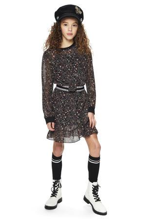 gebloemde semi-transparante jurk Amanda zwart