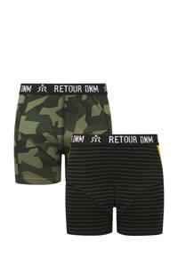 Retour Denim   boxershort Dolf - set van 2 groen/zwart, Donkergroen/zwart