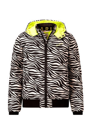 winterjas Lilly met zebraprint zwart/wit