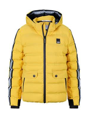 gewatteerde winterjas Lion met contrastbies geel