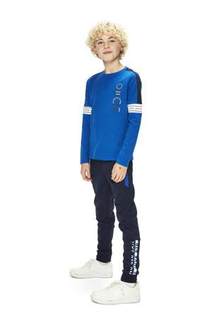 slim fit joggingbroek Cas met zijstreep donkerblauw