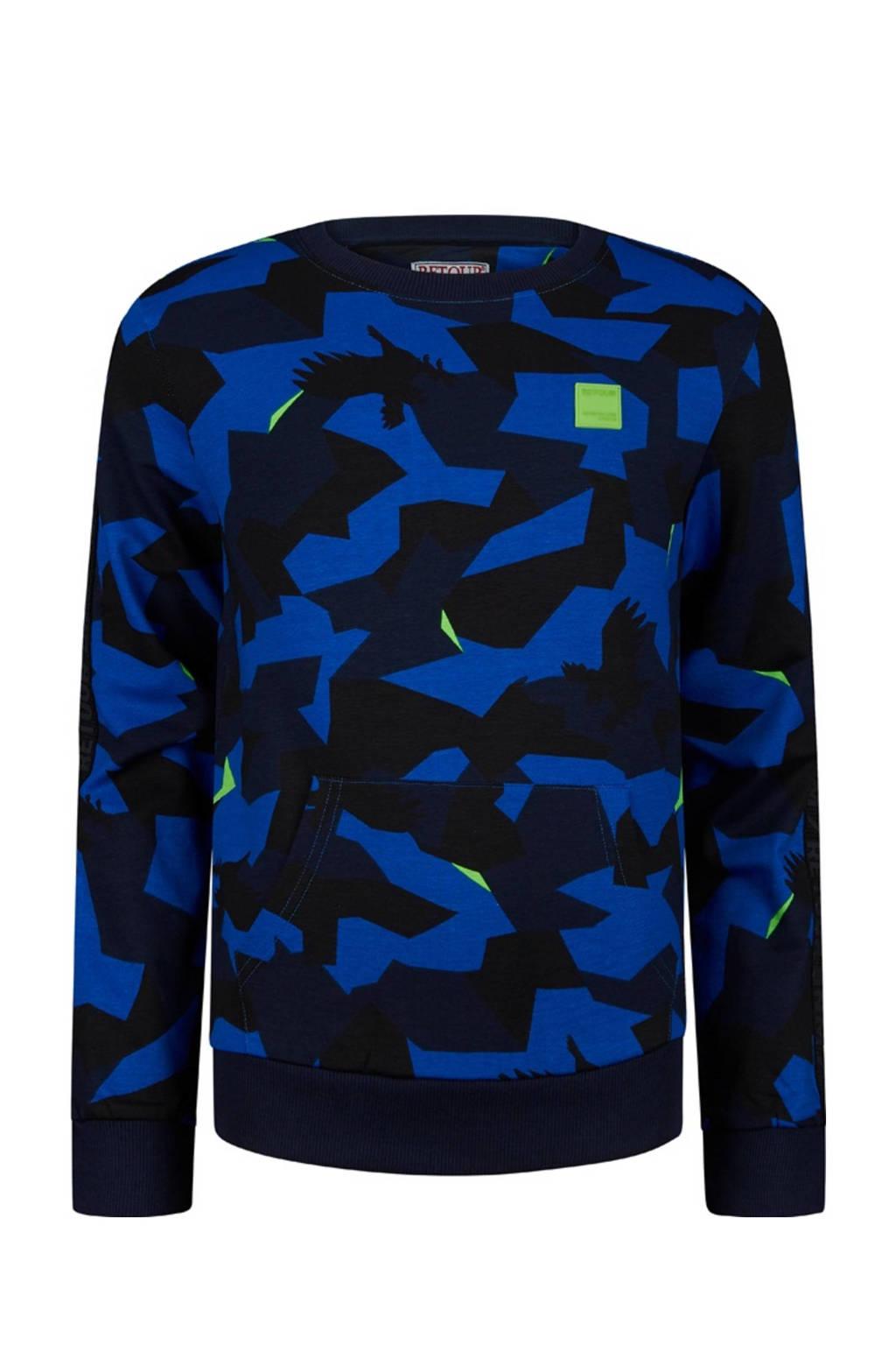 Retour Denim sweater Ross met camouflageprint hardblauw/zwart, Hardblauw/zwart