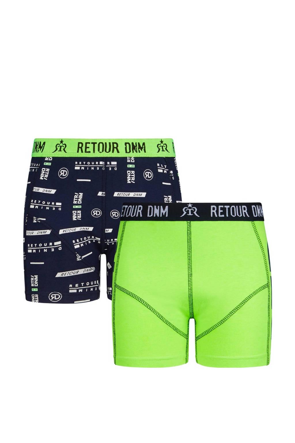Retour Denim   boxershort Leon - set van 2 neon groen/donkerblauw, Neon groen/donkerblauw
