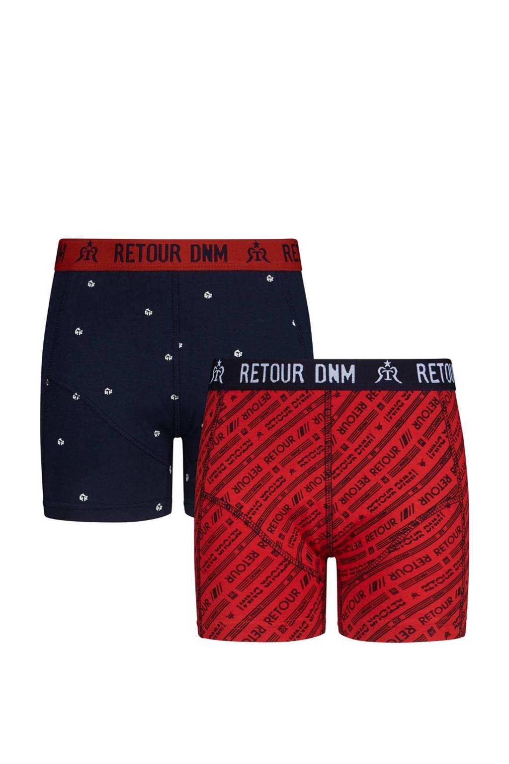 Retour Denim   boxershort Bjorn - set van 2 donkerblauw/rood, Donkerblauw/rood