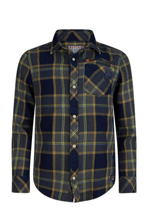 geruit overhemd Rolando donkerblauw/groen