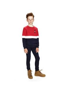 Retour Denim sweater Mark rood/donkerblauw/wit, Rood/donkerblauw/wit