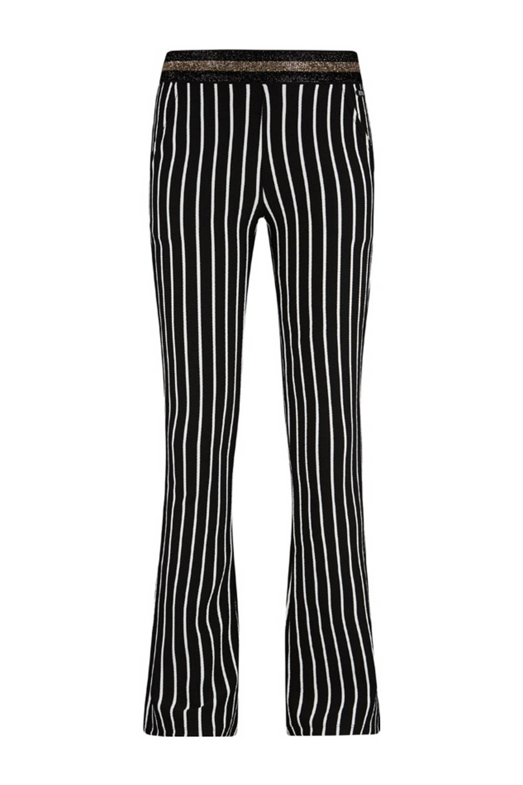 Retour Denim gestreepte flared broek Helga zwart/wit, Zwart/wit