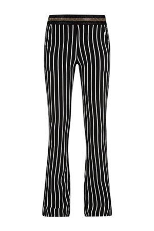 gestreepte flared broek Helga zwart/wit