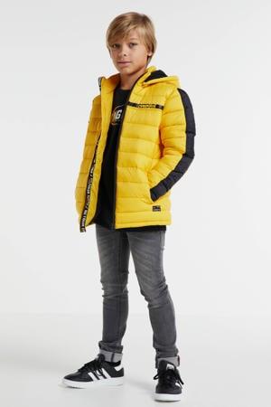 gewatteerde winterjas Rene geel/zwart